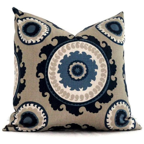 Duralee blue and tan suzani decorative pillow cover 20x20 for 20x20 living room