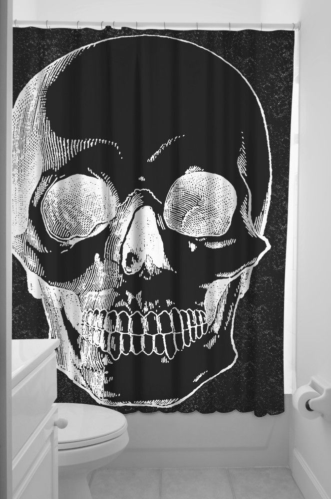 Now you can display your strange oddities right in your bathroom! This polyester shower curtain features a large human skull printed in white on a black background. HELL YES!  Features  Polyester shower curtain Plastic hanging hooks included 100% Polyester