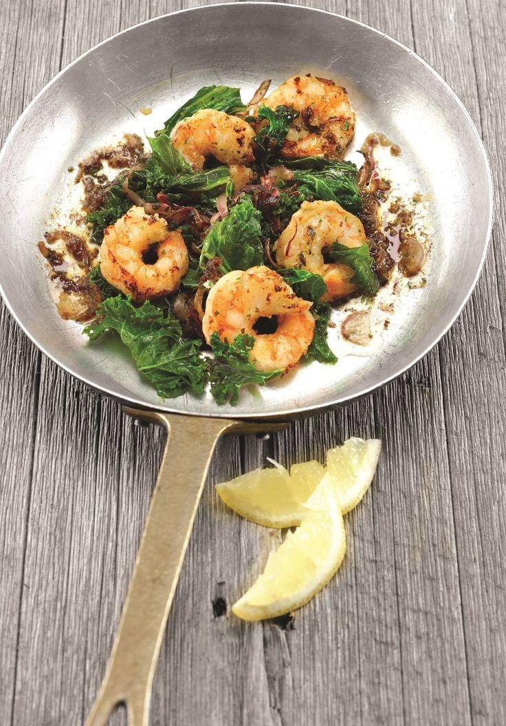 Recettes santé | Nutrisimple | Crevettes au gingembre et sauté de chou frisé