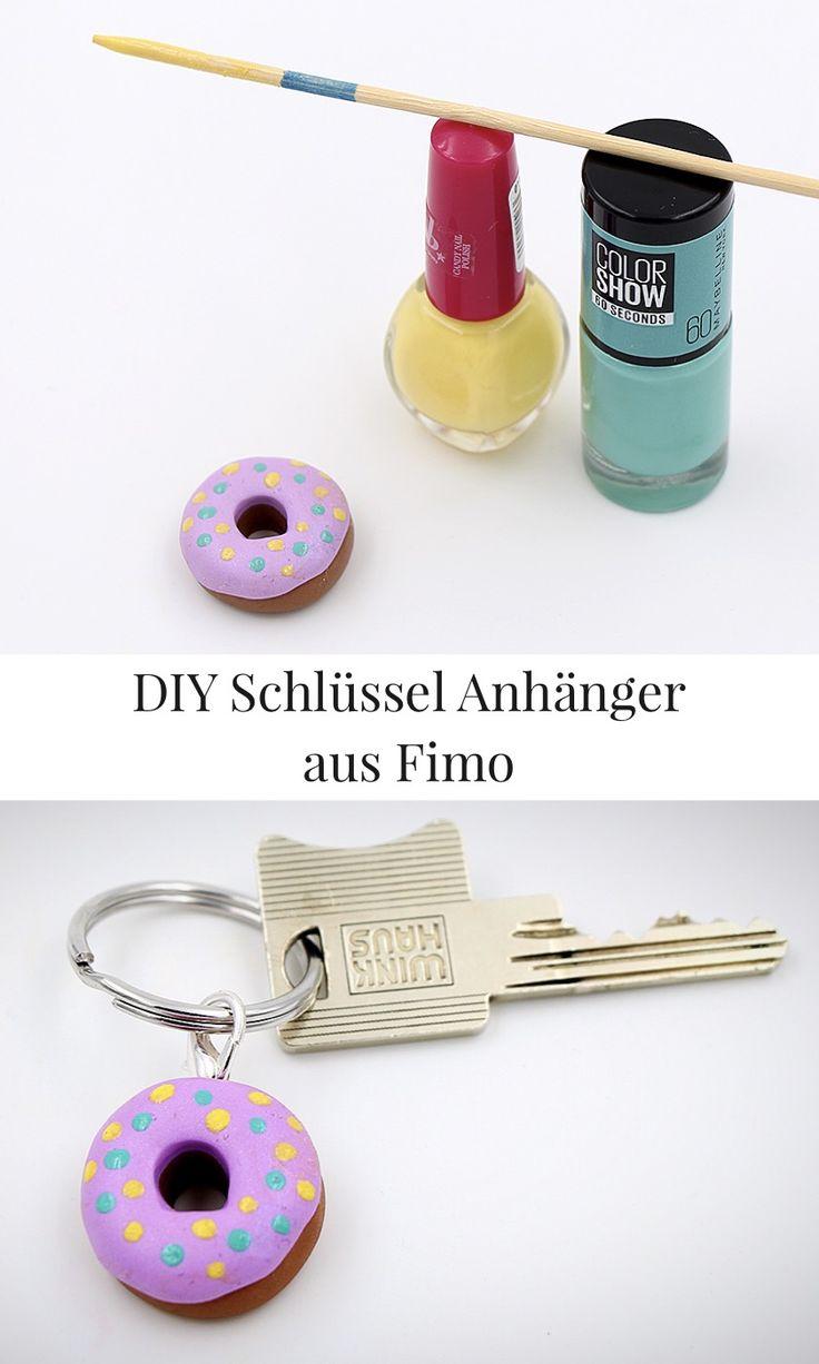 DIY Fimo Schmuck: Donut als Schlüsselanhänger selbst machen. Anleitung und weitere Fimo Ideen gibt es auf meinem Blog.