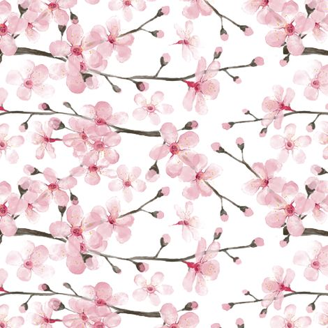 cherry blossom watercolor  fabric by magentarosedesigns on Spoonflower - custom fabric