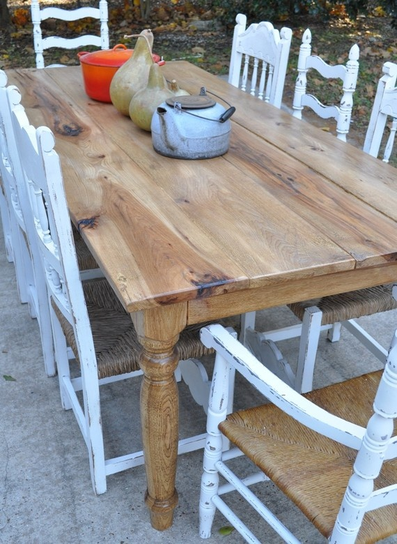 rustic reclaimed farmhouse table love the mismatched white chairs!