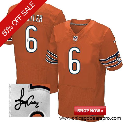 $129.99 Men's Nike Chicago Bears #6 Jay Cutler Elite Orange NFL Alternate Autographed Jersey