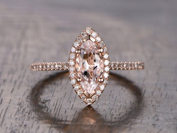 Valentine's Present Marquise Cut Morganite Ring,Morganite Engagement Ring,Diamonds Halo Ring, 14K Rose Gold Prong Set, Micro Pave Ring