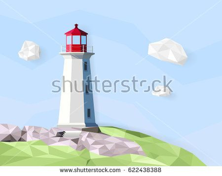 Lighthouses Isometric vector illustration. Low poly object