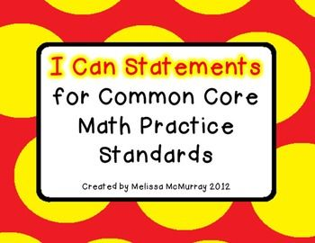 Common Core Math Practice Standards - Melissa McMurray - TeachersPayTeachers.com