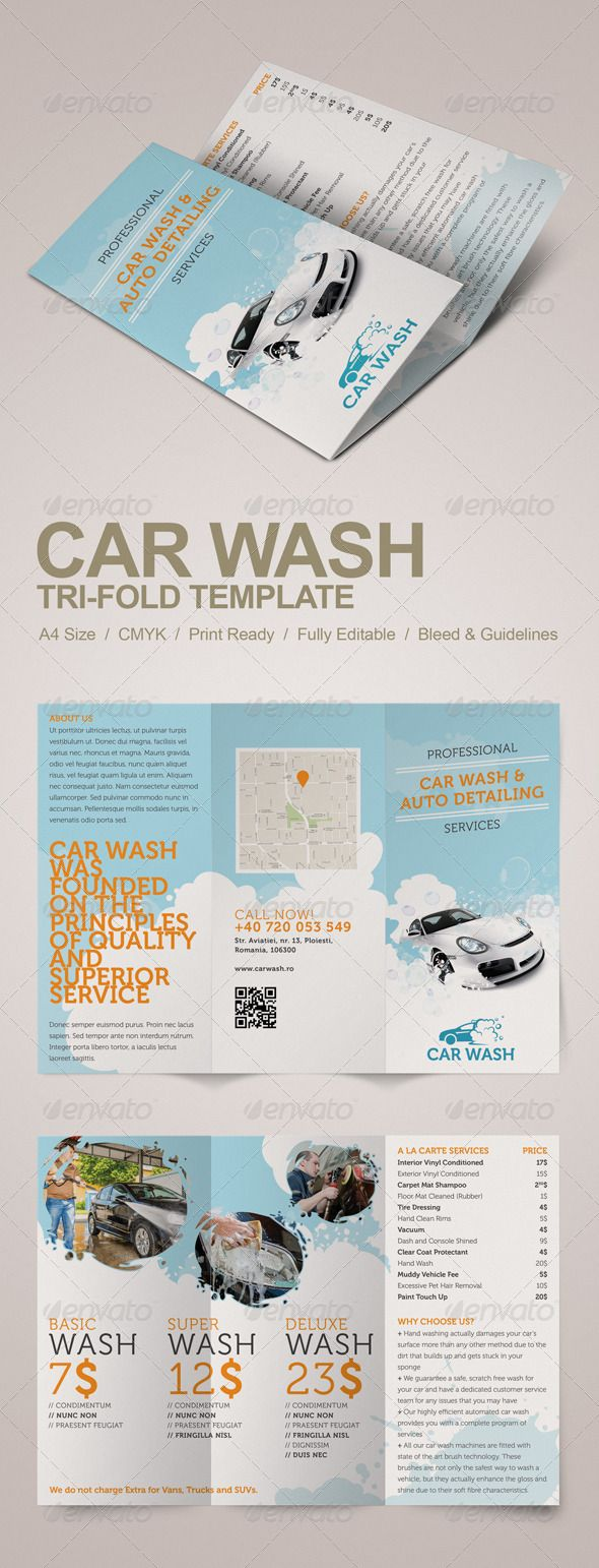 Car wash Service Menu, Product Menu, Corporate Service Menus