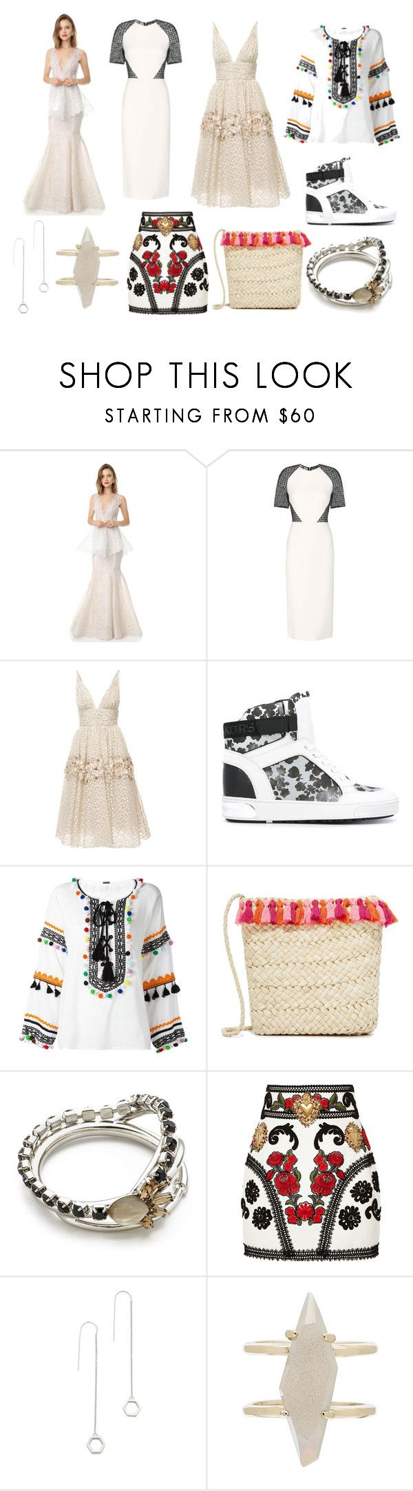 """Pure White.."" by donna-wang1 ❤ liked on Polyvore featuring Marchesa, David Koma, Carolina Herrera, MICHAEL Michael Kors, Dodo Bar Or, Hat Attack, Marni, Dolce&Gabbana, Eddie Borgo and Kendra Scott"