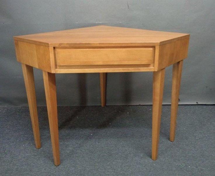 Vintage Mid Century Modern Russel Wright CONANT BALL Corner Desk Blonde  Wood NR! |