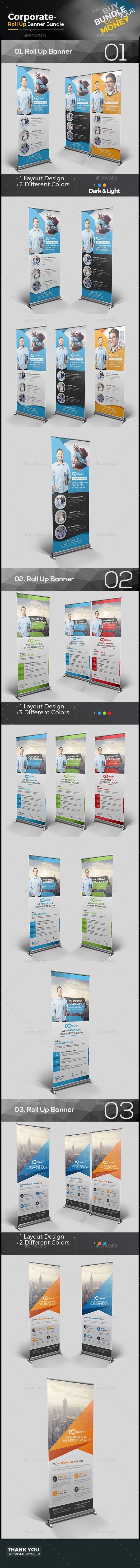 3 Corporate Roll Up Banner Templates Vector EPS, AI Illustrator. Download here: ...