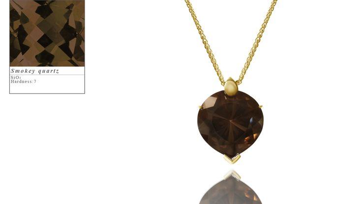 Simon Pure's yellow gold Bubble Heart pendant set with a gorgeous smokey quartz. simonpure.co.uk