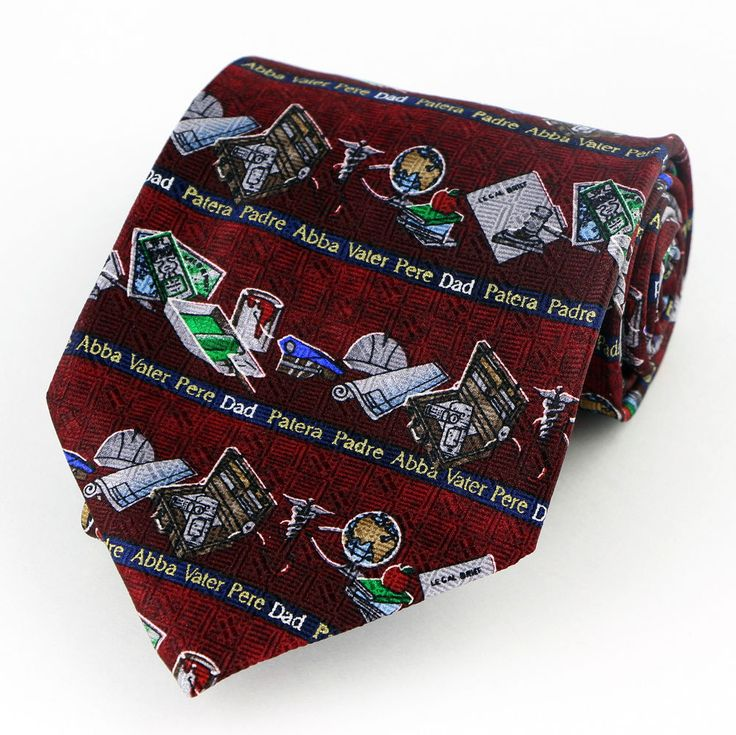 International Fathers Day Mens Necktie Dad Holiday Gift Red Silk Neck Tie New #Unicef #NeckTie