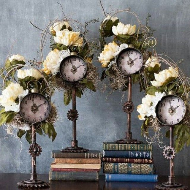 RESERVED Listing For Leah Only Set Of 4 Steampunk Wedding Table Flower Clock Centerpieces Ivory Decor