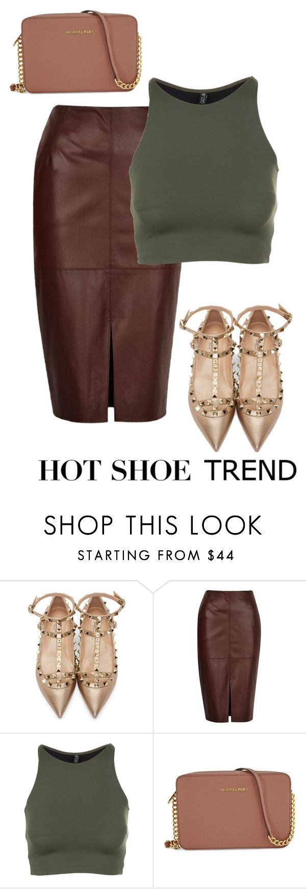 """""""hot shoe trend"""" by pocca ❤ liked on Polyvore featuring Valentino, River Island, Onzie and Michael Kors"""