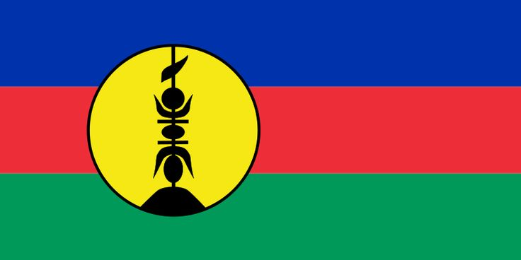 National flag of New Caledonia from http://www.flagsinformation.com/new-caledonia-country-flag.html  New Caledonia officially uses the Flag of France, this often has the emblem of New Caledonia A yellow circle overlays the underlying bands, this merges into the flag from about 20% of the way in from the left and finishes about half way into the flag. The yellow. Within the yellow circle is a symbol, which consists of a flèche faitière, which has been thrust through some tutut shells.