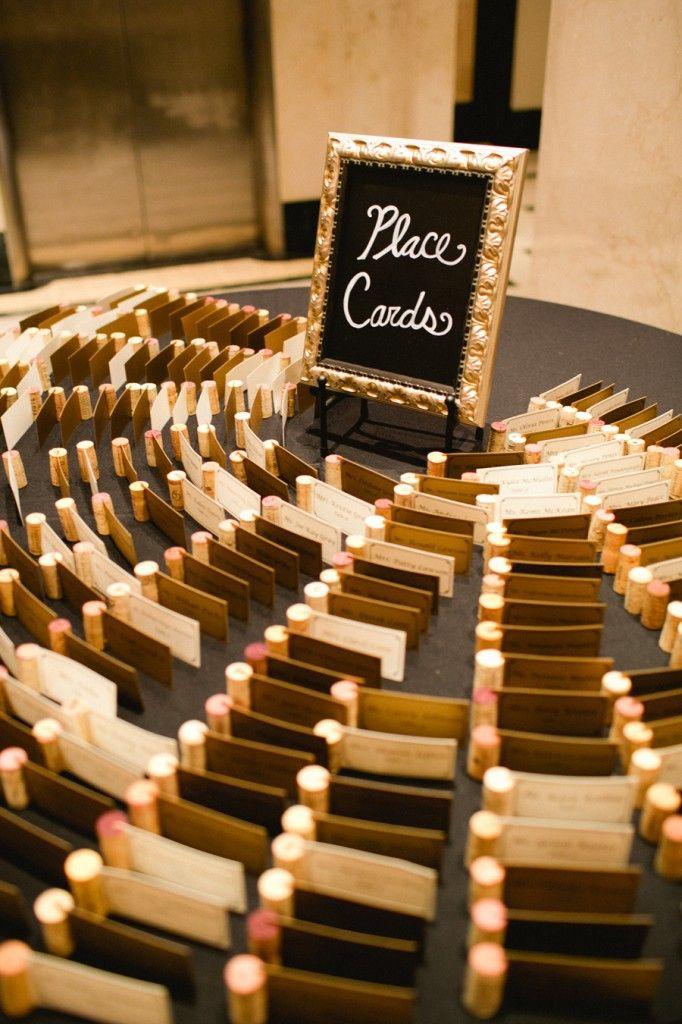 Wine cork place card holders. --photo by Amanda Watson Photography #wine #cork #placecards #wedding