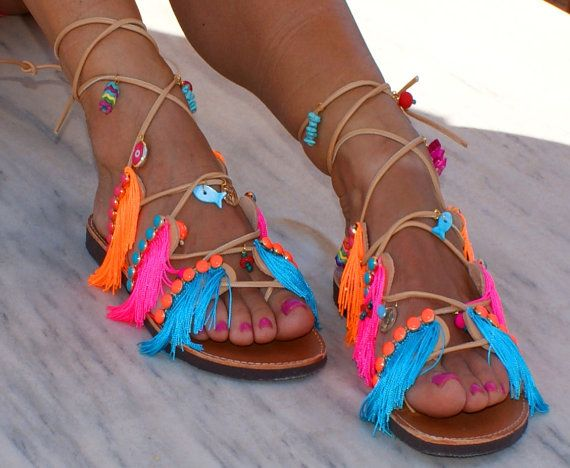 Tie up Gladiator sandals/ Leather sandals/ Fringed by magosisters