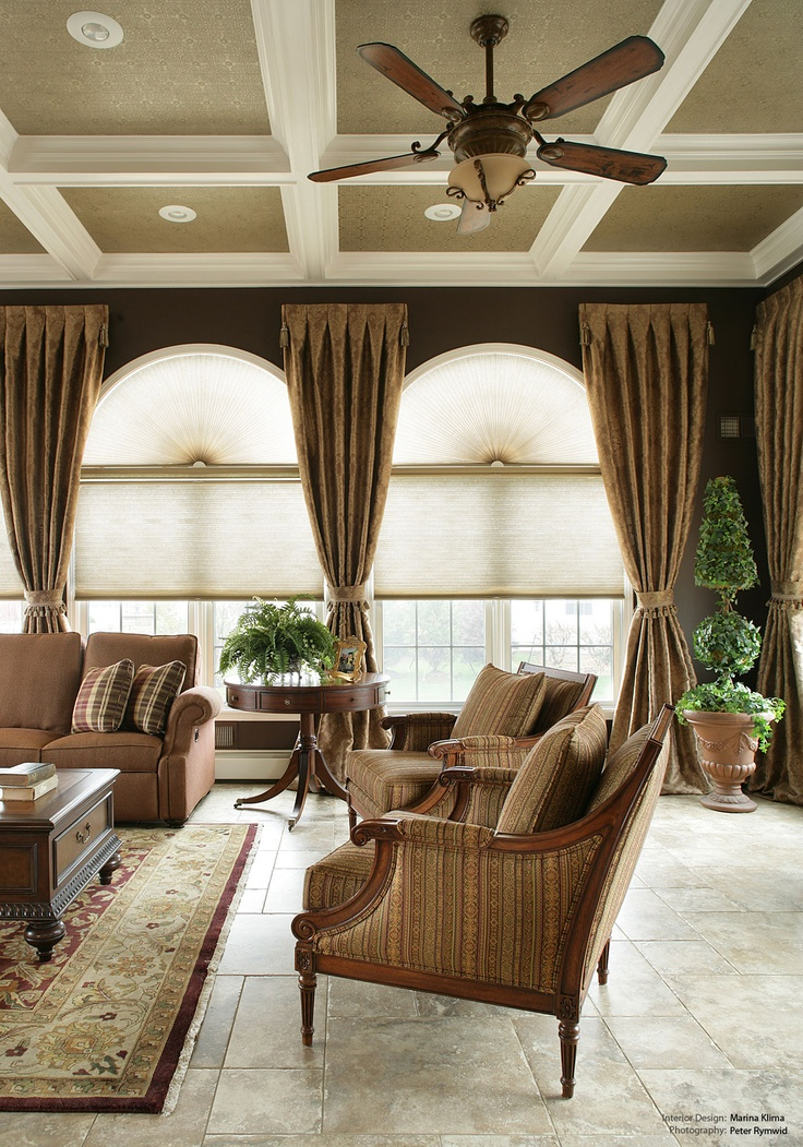 window treatments, family room, arched windows, living room