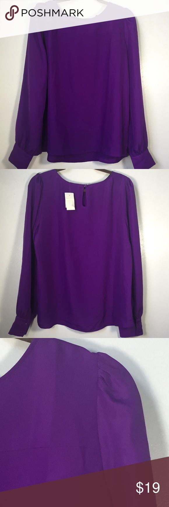 "J crew factory women's Blouse purple size large • Brand: j crew  • Condition: new with tags • Measurements taken laying flat:  • armpit to armpit: 22.5"" • Length: 25.5"" • Sleeves( from shoulder seam to cuff): 27"" J crew  Tops Blouses"