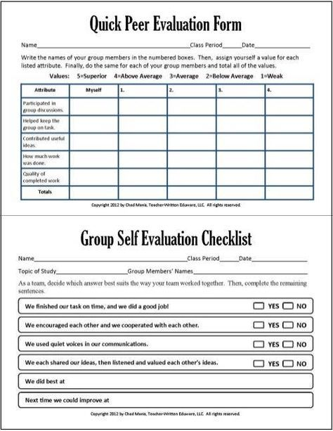 Cooperative Learning: This Free PDF Packet Includes Documents For Self  Evaluation, Peer Evaluation,