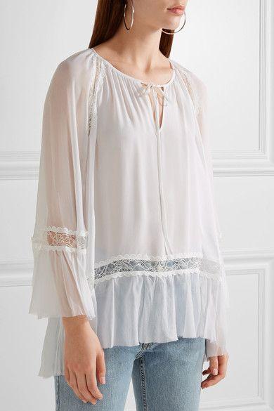 Alice Olivia - Luma Lace-paneled Silk-georgette And Chiffon Blouse - White - x small