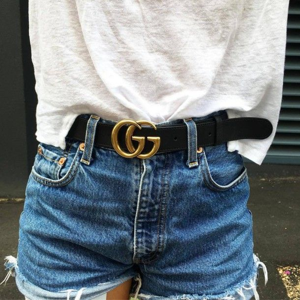 37f15a753e8 Belt  tumblr gucci gucci logo t-shirt white t-shirt shorts denim shorts  blue shorts