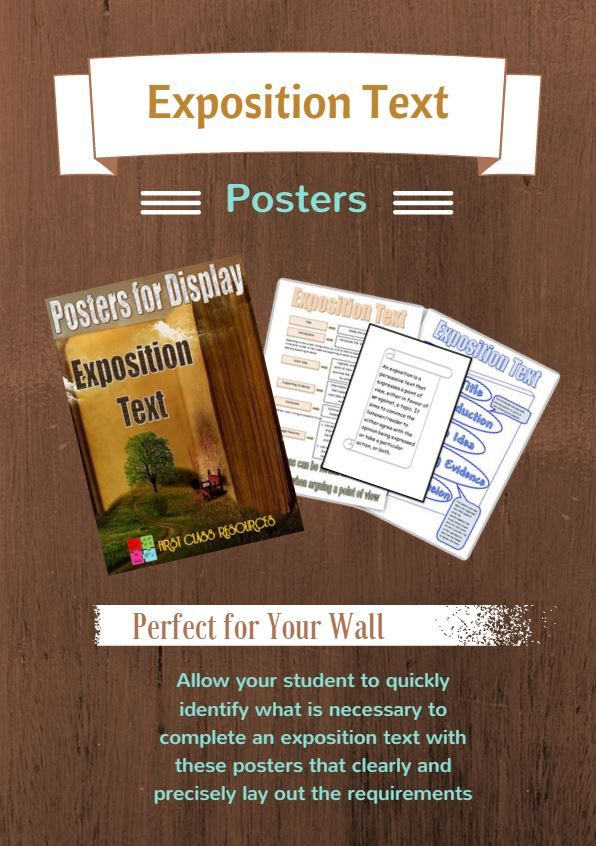 This resource has been designed as a perfect addition to your classroom to assist students in writing an exposition text.  The package consists of three posters that clearly and precisely lay out the requirements of an exposition text. They allow the student to quickly and easily observe the information and identify the steps to be followed, thereby providing a fantastic planning tool. http://www.firstclassresources.com/store/p110/Exposition_Text.html