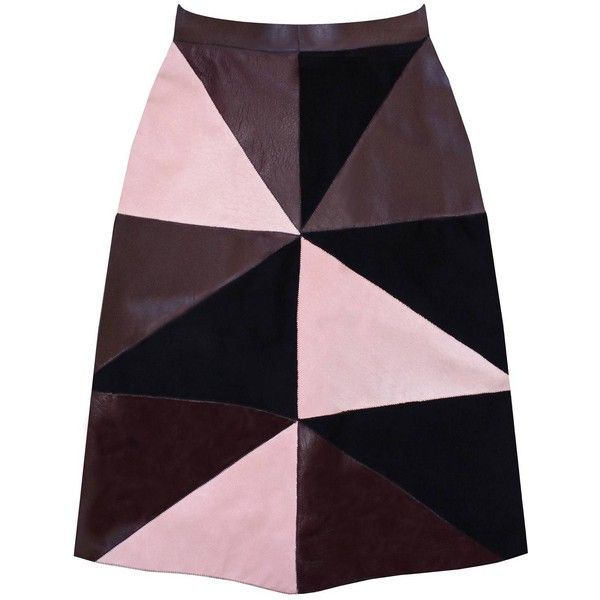 Florence Bridge - Maisie Patchwork Leather Skirt (634 AUD) ❤ liked on Polyvore featuring skirts, bottoms, high waisted knee length skirt, real leather skirt, knee high skirts, high-waisted skirts and high rise skirts