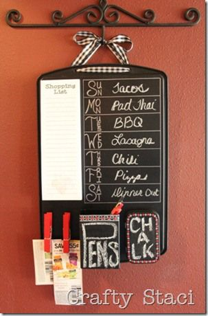 Upcycle a cookie sheet into a kitchen command center (@ Crafty Staci)