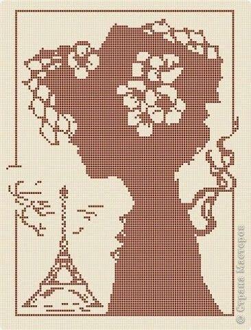 0 point de croix monochrome profil de femme à paris - cross stitch profile, side of a girl in paris