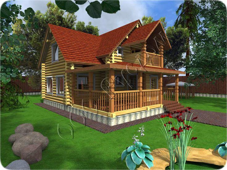 """Проект бревенчатого дома """"Алиса-2"""" - уменьшенный вариант рубленного коттеджа Алиса с изменениями в планировке. http://www.rusdom.ru/projects-houses/alice-2/"""