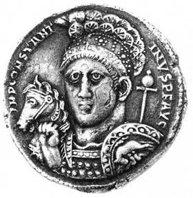 Medallion of Constantine the Great, c.315 AD.  The Chi Rho symbol is visible on the headgear.