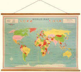 World Map Vintage Style