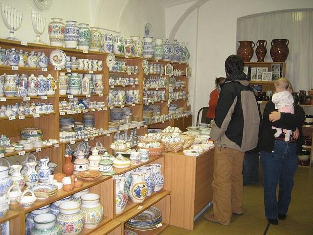 Modra, Slovakia.  Shopping for Majolica pottery made in Modra.