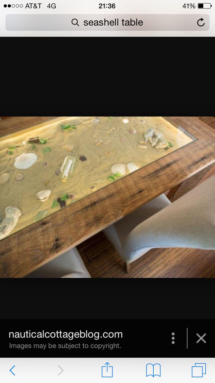 Lighted seashell table