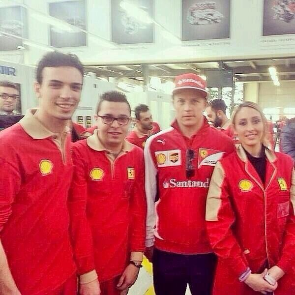 Kimi with Ferrari employees at Maranello factory 2014