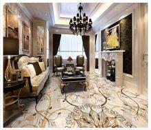 3D Floor schilderen maat muurschildering Hotel lobby stone floor spelling een bloem art keramische tegel 3d vloer behang pvc thuis decoratie(China (Mainland))