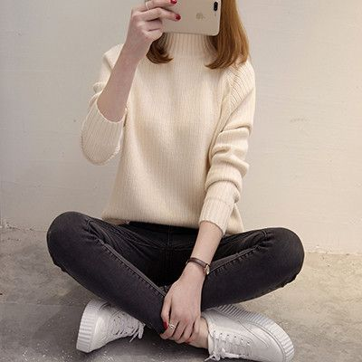 Fashion Women Spring Autumn Winter Half Turtleneck Knit Sweater Female Solid Color Knitwear Ladies Jumper Coat Bottoming Shirt