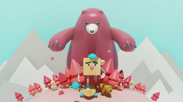 3D illustration c4d bear dog character