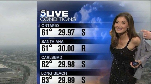 "Reporter forced to cover up on live TV because her dress was too revealing -    An awkward moment ensued on KTLA on Saturday, as weather reporter Liberté Chan was asked to put on a sweater on live TV.  Mid-broadcast, someone off-camera dangles a sweater in front of Chan. Confused, Chan asks, ""What's going on? You want me to put this on? Why? Cause... http://tvseriesfullepisodes.com/index.php/2016/05/15/reporter-forced-to-cover-up-on-live-tv-because-her-d"