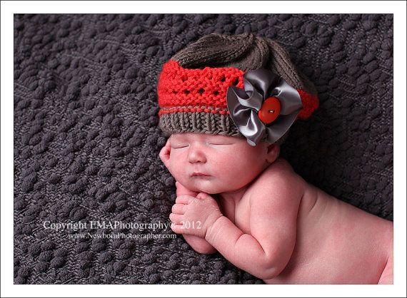 Newborn Knit Hat Baby Girl Hats Baby Beret Newborn by knoodleknits, $26.00