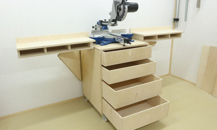 This Mobile Miter Saw Stand with drawer storage in the wings and the bottom part is made from plywood to hold the miter saw, The drawers are made from 12mm plywood and finished with waterbased poly…