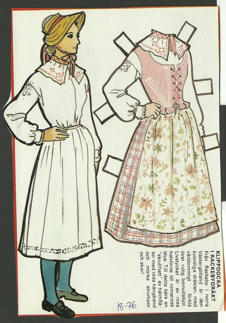 Female Costume Rackebydrakt Sweden Vintage Swedish Paper Doll | eBay