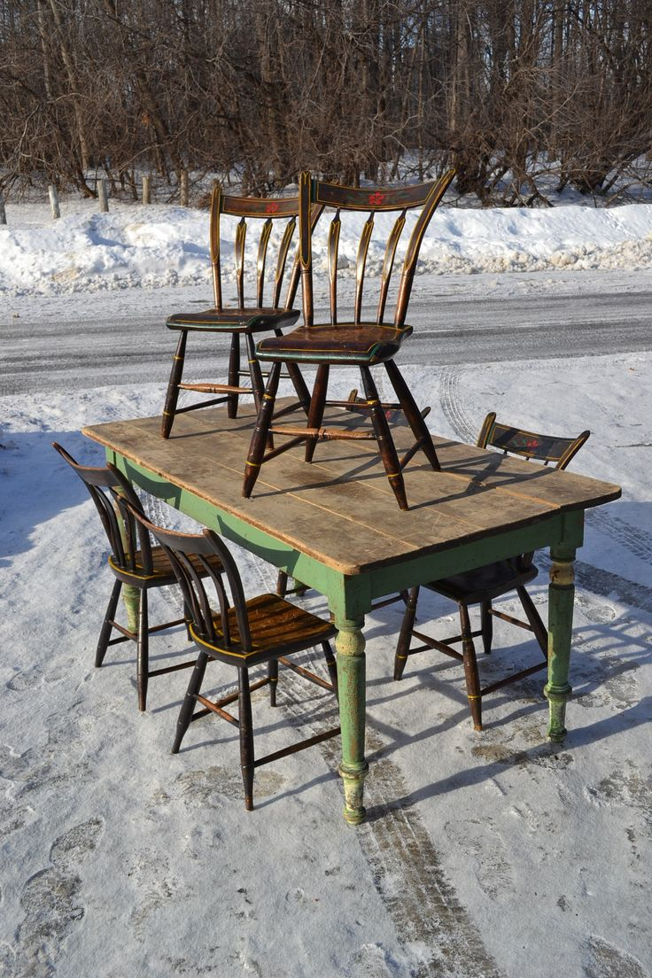 71 best antique furniture images on pinterest antique for Table 6 chaises kijiji