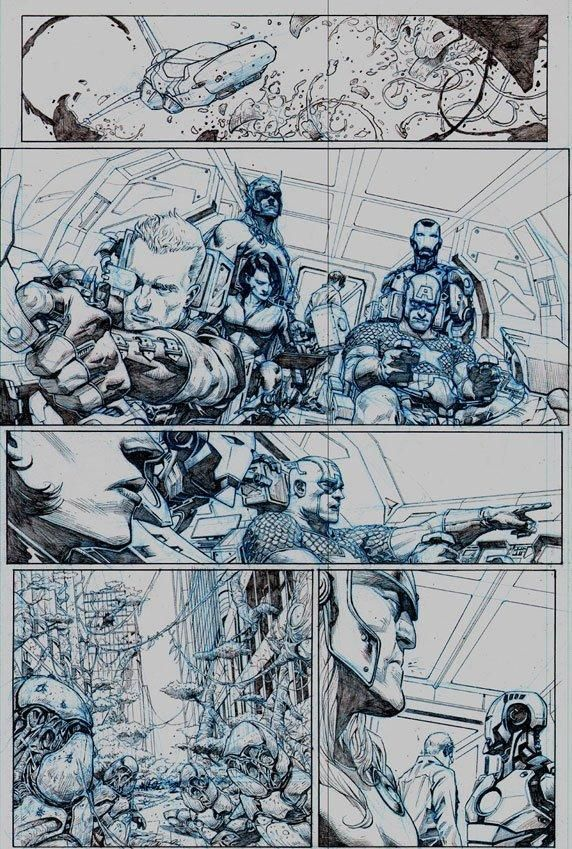 1st look at 3 stunning pages of Avengers #1 pencil art   Blastr