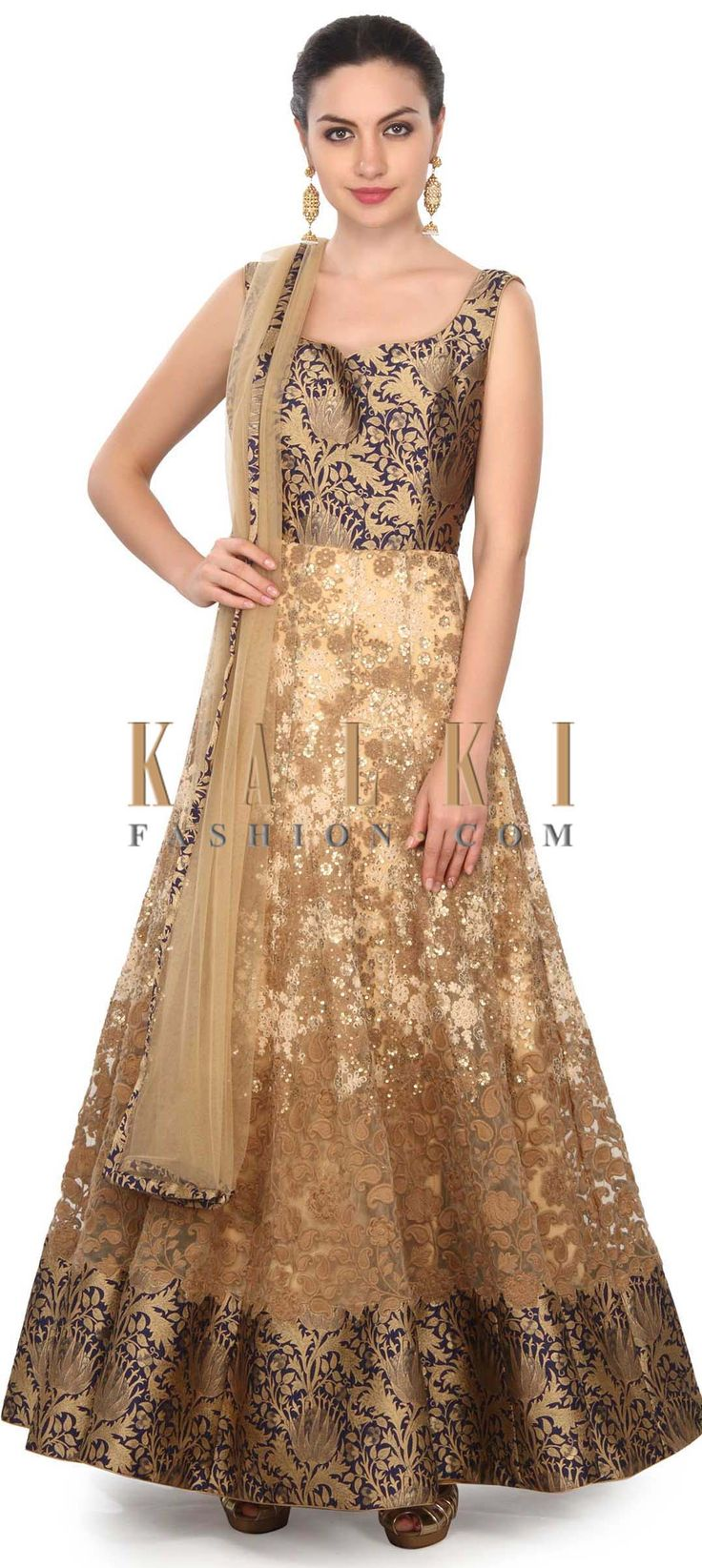 Buy this Beige anarkali suit enhanced in sequin and thread embroidery only on Kalki