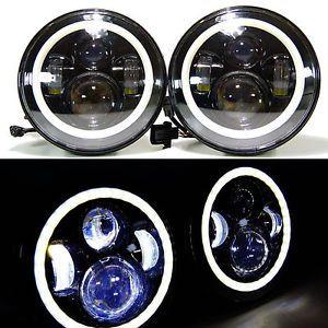 7 Inch Round LED Headlights Halo Angle Eyes For Jeep 97-2015 Wrangler JK LJ TJ