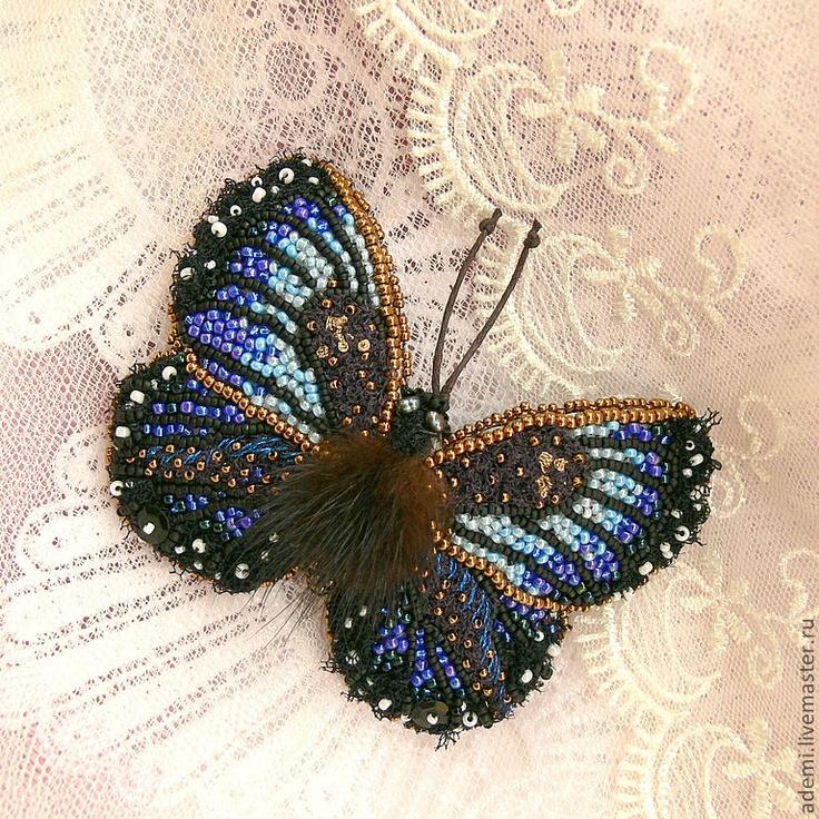 """11.09.2012 Beads Brooch """"Blue Butterfly"""". Работа дня: Брошь """"Голубая бабочка"""". Обворожительная сияющая брошь в виде бабочки - ручная вышивка бисером, натуральный жемчуг, кристаллы Сваровски. $111"""
