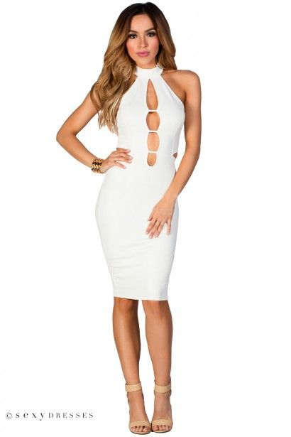 Plunge neck cut out midi dress in white dining