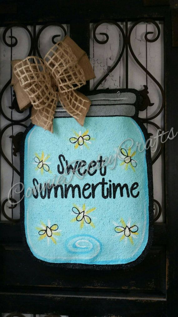 Mason jar burlap door hanger, Spring or summer welcome sign, or wreath. Sweet summertime, blue with yellow accents, can be personalized free